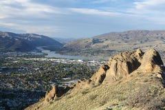 Wenatchee from Saddle Rock. View of Wenatchee and East Wenatchee, Washington from Saddle Rock area stock photo