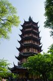 Wenbi Tower in Changzhou China. Wenbi Tower locates in the south of Hongmei Park in Tianning district in Changzhou China. It has 7 floors and with a history of Stock Photo