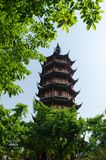 Wenbi Tower in Changzhou China. Wenbi Tower locates in the south of Hongmei park in Tianning district in Changzhou China. The tower which was built in Nan Royalty Free Stock Photos
