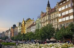 Wenceslas kwadrat w wieczór, Praga Zdjęcia Stock