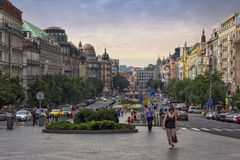 Wenceslas kwadrat w wieczór, Praga Fotografia Stock