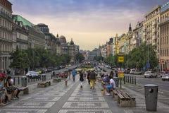 Wenceslas kwadrat w wieczór, Praga Obraz Royalty Free