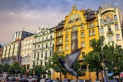 Wenceslas kwadrat w wieczór, Praga Zdjęcie Royalty Free