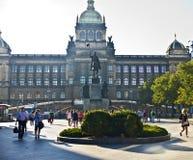 Wenceslas monumet en Tsjechisch Nationaal Museum, Praag Royalty-vrije Stock Foto's