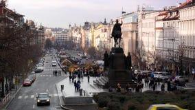 The Wenceslas Square in the European city of Prague. Wenceslas Square, Prague, Czech republic, business, culture communities and festive markets, time lapse stock footage