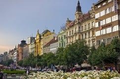 Wenceslas Square in the evening, Prague Stock Photos