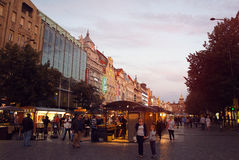 Wenceslas Square by evening Royalty Free Stock Photography