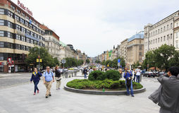 Wenceslas Square in historic centre of Prague. Stock Photography