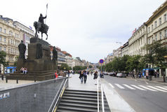 Wenceslas Square in historic centre of Prague. Royalty Free Stock Image