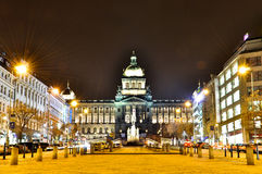 Wenceslas square and national museum in Prague, Czech Republic Royalty Free Stock Image