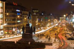 Wenceslas Square at night Stock Photo