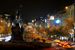 Wenceslas square in the night Royalty Free Stock Image