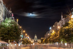 Wenceslas Square at night. Wenceslas Square and The National Museum in Prague royalty free stock photo