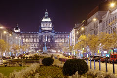 Wenceslas Square at night. Prague, Czechia Stock Photos