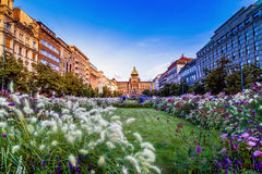Wenceslas Square in Praag stock afbeelding