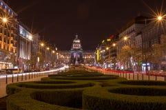 Wenceslas Square in Prague. Wenceslas Square. Prague at night Stock Photography