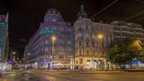 Wenceslas Square in Prague at night timelapse hyperlapse, dusk time. stock video
