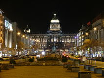 Wenceslas Square Prague. The upper part of Wenceslas Square at night Royalty Free Stock Photo