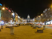 Wenceslas Square Prague. The upper part of Wenceslas Square at night Royalty Free Stock Image