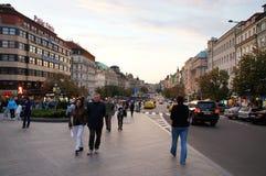 Wenceslas Square vid höst, Prague, tjeck Fotografering för Bildbyråer