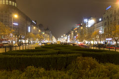 2014 - Wenceslas square in winter,  Prague Royalty Free Stock Photos