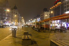 2014 - Wenceslas square in winter, Prague Royalty Free Stock Image