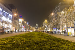 2014 - Wenceslas square at winter, Prague Royalty Free Stock Photos