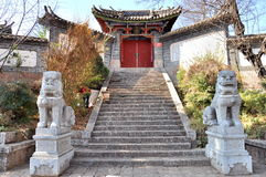 Wenchang Palace in Old Town of Lijiang Stock Photo