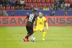 Wendell Bayer Leverkusen i Dzmitry Likhtarovich Bate Borisov Obraz Royalty Free