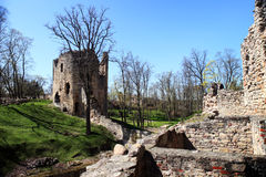 Ruins of the medieval castle in spring Stock Photos