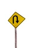 Wendesymbol Straße in der rustikalen Stadt getrennt stockfoto