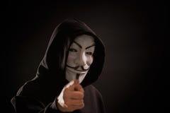 Wendety maska - symbol dla online hacktivist grupy Anonimowej Zdjęcie Stock