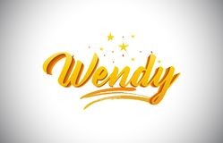 Wendy Golden Yellow Word Text con l'illustrazione vibrante di vettore di colori dell'oro scritto a mano illustrazione vettoriale