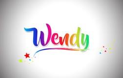 Wendy Handwritten Word Text com cores do arco-íris e Swoosh vibrante ilustração do vetor