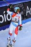 Wendy Holdener av SUI på fullföljandeområde efter den andra körningen av den jätte- slalomet royaltyfri foto