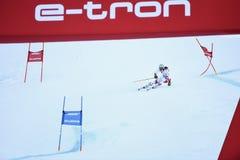 Wendy Holdener av SUI på fullföljandeområde efter den andra körningen av den jätte- slalomet royaltyfria foton
