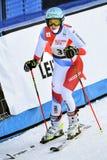 Wendy Holderner av SUI reagerar i fullföljandeområdet efter den andra körningen av den jätte- slalomet royaltyfria foton