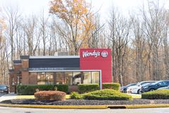 Wendy`s fast food restaurant exterior stock image