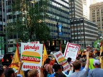 Wendy's Protest in New York city Stock Images