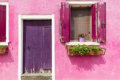 Wenecja Burano koloru domy ściany,/ Obrazy Royalty Free