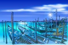 Wenecja Gondole na wodzie Obrazy Stock