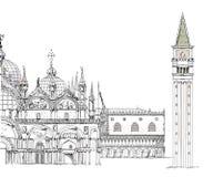 Wenecja nakreślenia kolekcja, doża pałac, San Marco i wierza, Fotografia Royalty Free