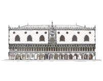 Wenecja nakreślenia kolekcja, doża pałac wyszczególniał ilustrację Fotografia Royalty Free