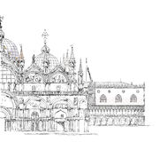 Wenecja nakreślenia kolekcja, palase, San Marco i doży, szczegółowa ilustracja Fotografia Royalty Free