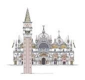 Wenecja nakreślenia kolekcja, San Marco i miasteczko, górujemy na kwadracie, szczegółowa ilustracja Obraz Stock