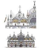 Wenecja nakreślenia kolekcja, San Marco wyszczególniał ilustrację Zdjęcia Stock