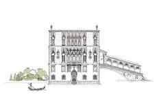 Wenecja nakreślenia kolekcja, Wenecja kanału ilustracja Obrazy Stock