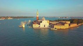 Wenecja pejzażu miejskiego widoku z lotu ptaka Grand Canal San Marco Dzwonkowy wierza Mark kwadrat Włochy zbiory wideo