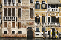 Wenecja, szczegół fasadowy obszycie kanał grande Fotografia Stock