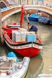 Wenecja tła czarny ikon linie świecąca setu transportu wektoru woda Obraz Royalty Free